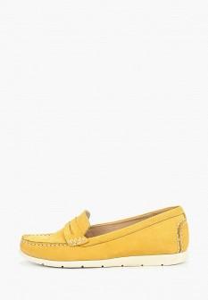 Женские желтые кожаные летние мокасины