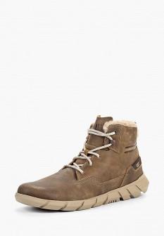 Мужские коричневые осенние кожаные ботинки с мехом
