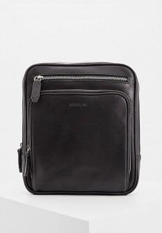 Мужская черная осенняя кожаная сумка