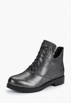 Женские осенние серебряные кожаные ботинки на каблуке