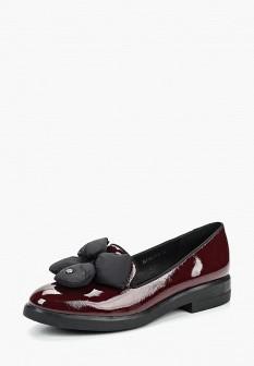 Женские бордовые осенние кожаные туфли лоферы