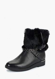 Женские черные осенние кожаные сапоги с мехом