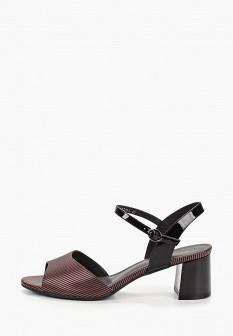 Женские бордовые осенние кожаные босоножки на каблуке