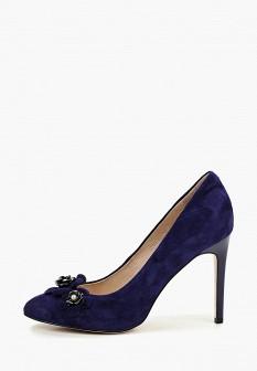 Женские синие туфли на каблуке
