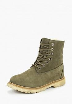 Женские зеленые ботинки из нубука на каблуке на платформе