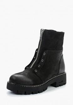 Женские черные осенние ботинки из нубука на каблуке