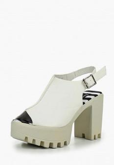 Женские белые кожаные босоножки на каблуке на платформе