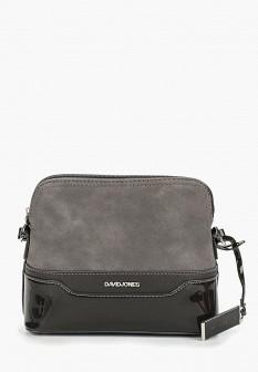 Женская серая кожаная лаковая сумка