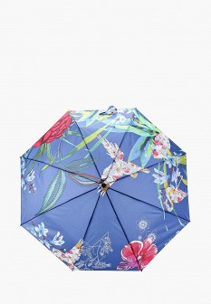 Женский синий складной зонт