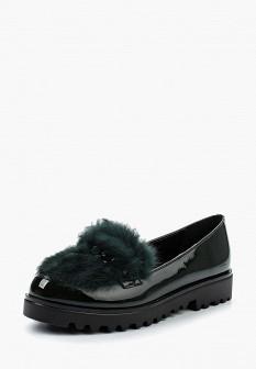 Женские зеленые туфли лоферы на каблуке на платформе