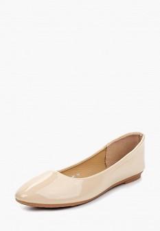 Женские бежевые осенние кожаные лаковые балетки