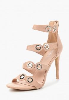 Женские розовые босоножки на каблуке