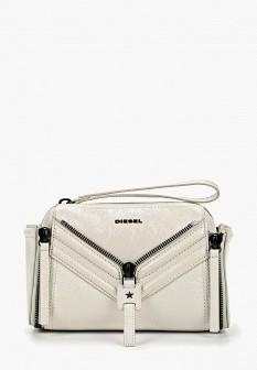 Женская белая кожаная сумка Diesel