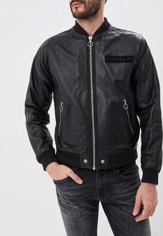 Мужская черная осенняя кожаная куртка