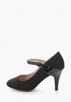 Женские черные лаковые текстильные туфли на каблуке