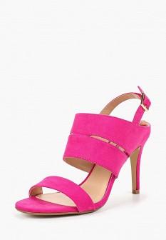 Женские розовые осенние текстильные босоножки на каблуке