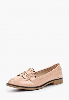 Женские бежевые осенние кожаные лаковые туфли