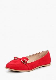 Женские красные осенние туфли лоферы