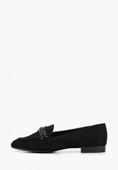 Женские черные туфли лоферы на каблуке