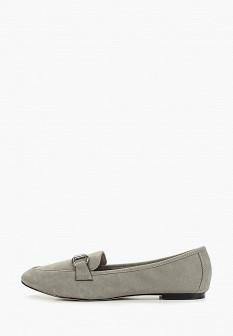 Женские серые осенние кожаные туфли лоферы