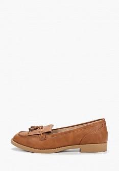 Женские коричневые кожаные туфли лоферы на каблуке