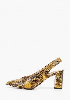 Женские желтые осенние кожаные туфли на каблуке