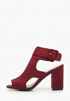 Женские бордовые осенние текстильные босоножки на каблуке