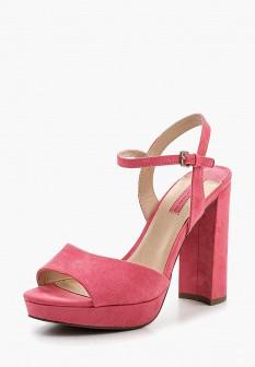 Женские розовые босоножки на каблуке на платформе