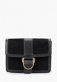 Женская черная осенняя кожаная сумка