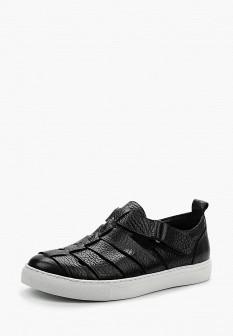 Мужские черные кожаные сандалии