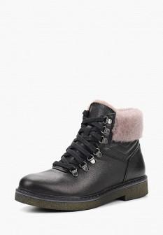 Женские черные осенние кожаные ботинки с мехом