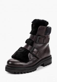 Женские бордовые осенние кожаные ботинки с мехом