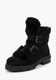 Женские черные осенние ботинки с мехом