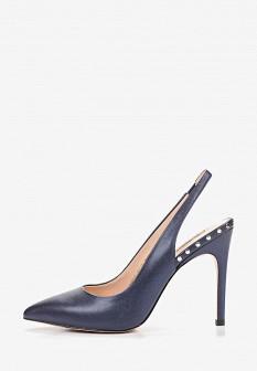 Женские синие осенние кожаные туфли на каблуке