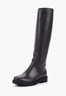 Женские серые осенние кожаные сапоги на каблуке