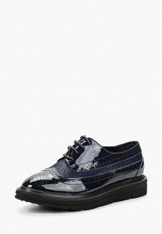 Женские синие осенние кожаные ботинки на каблуке