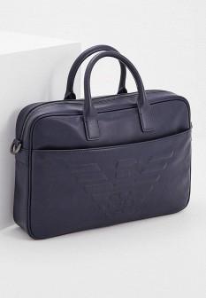 Мужская синяя кожаная сумка