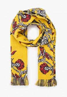 Женский желтый итальянский осенний шарф