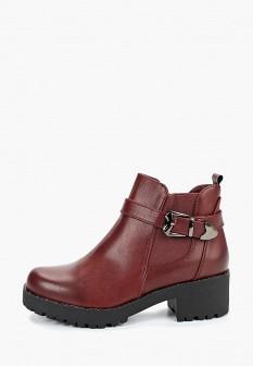 Женские бордовые кожаные ботильоны на каблуке на платформе