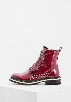 Женские бордовые итальянские осенние кожаные ботинки