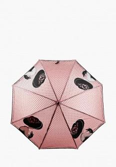 Женский розовый осенний зонт трость