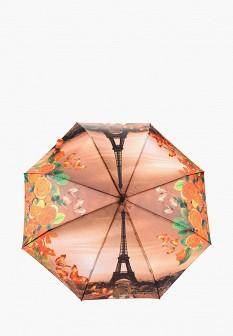 Женский оранжевый осенний складной зонт