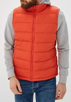 Мужской оранжевый осенний утепленный жилет