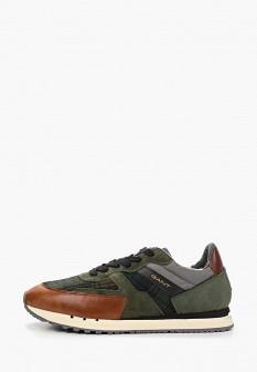 Мужские зеленые осенние кожаные кроссовки