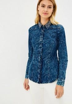Женская синяя осенняя рубашка