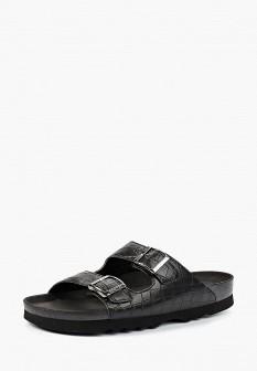 Мужские черные испанские кожаные сандалии