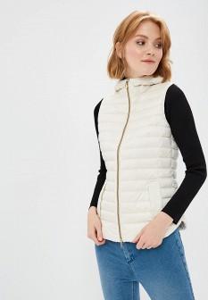 Женский белый осенний утепленный жилет