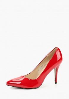 Женские красные осенние кожаные туфли на каблуке