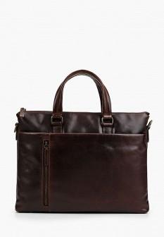 Мужская коричневая осенняя кожаная сумка