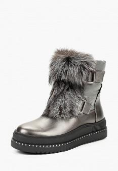 Женские серые осенние кожаные ботинки с мехом